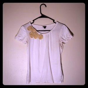 Ann Taylor white tee with crepe flower detail
